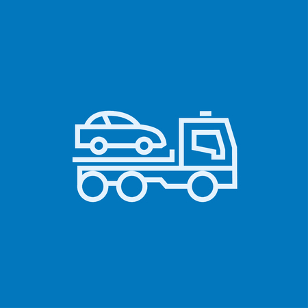 Car towing truck thick line icon with pointed corners and edges for web, mobile and infographics. Vector isolated icon.