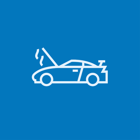 overheat: Broken car with open hood thick line icon with pointed corners and edges for web, mobile and infographics. Vector isolated icon.