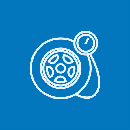 Pressure gauge tyre thick line icon with pointed corners and edges for web, mobile and infographics. Vector isolated icon. Illustration