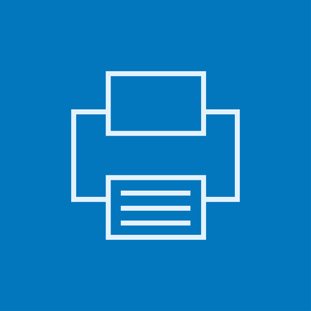Printer thick line icon with pointed corners and edges for web, mobile and infographics. Vector isolated icon. Vettoriali