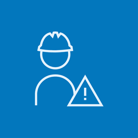 Worker in hard hat with caution sign thick line icon with pointed corners and edges for web, mobile and infographics. Vector isolated icon.