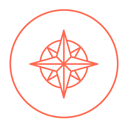 compass rose: Compass wind rose line icon for web, mobile and infographics. Vector red thin line icon in the circle isolated on white background.