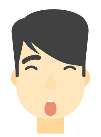 scared man: An asian scared man with open mouth vector flat design illustration isolated on white background. Vertical layout.