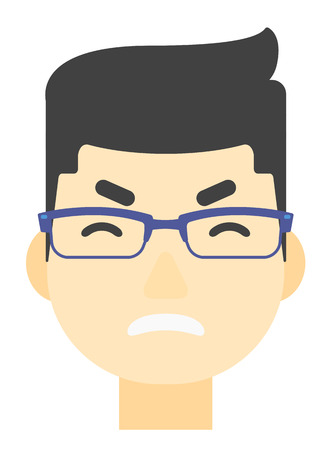 An asian screaming aggressive man vector flat design illustration isolated on white background. Vertical layout. Vector Illustration