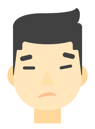 miserable: An asian young depressed man vector flat design illustration isolated on white background. Vertical layout. Illustration