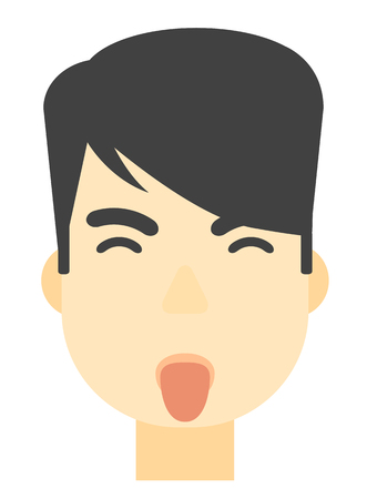 degrade: An asian contemptuous man sticking out his tongue vector flat design illustration isolated on white background. Vertical layout. Illustration