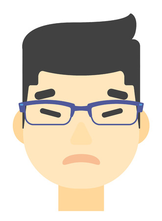 An asian envious man in glasses vector flat design illustration isolated on white background. Vertical layout. Vectores