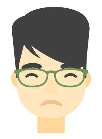 restless: An asian young depressed man vector flat design illustration isolated on white background. Vertical layout. Illustration