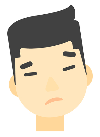 distress: An asian young depressed man vector flat design illustration isolated on white background. Vertical layout. Illustration
