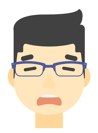 An asian scared man with open mouth vector flat design illustration isolated on white background. Vertical layout.