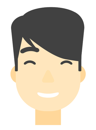 toothy smile: An asian smiling happy man vector flat design illustration isolated on white background. Vertical layout. Illustration