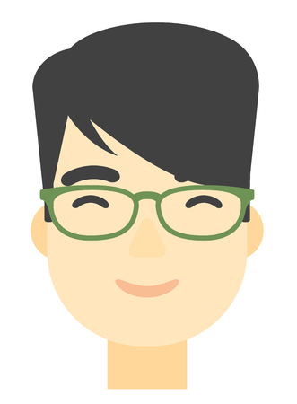 An asian smiling happy man vector flat design illustration isolated on white background. Vertical layout. 向量圖像