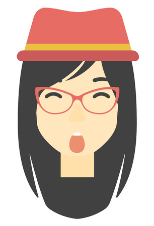 woman mouth open: An asian scared woman with open mouth vector flat design illustration isolated on white background. Vertical layout. Illustration