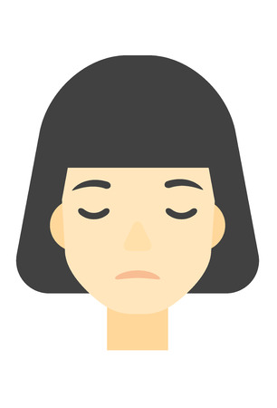grieving: An asian grieving woman with eyes closed vector flat design illustration isolated on white background. Vertical layout.