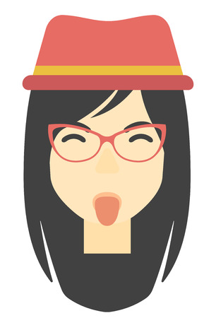 grimace: An asian contemptuous woman sticking out her tongue vector flat design illustration isolated on white background. Vertical layout. Illustration