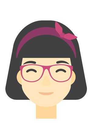 An asian smiling happy woman vector flat design illustration isolated on white background. Vertical layout.