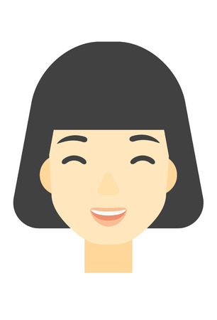 euphoria: An asian cheerful woman experiencing euphoria vector flat design illustration isolated on white background. Vertical layout.