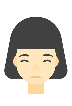 miserable: An asian young depressed woman vector flat design illustration isolated on white background. Vertical layout.