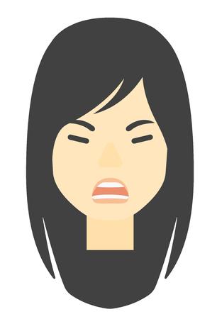 An asian screaming aggressive woman vector flat design illustration isolated on white background. Vertical layout.