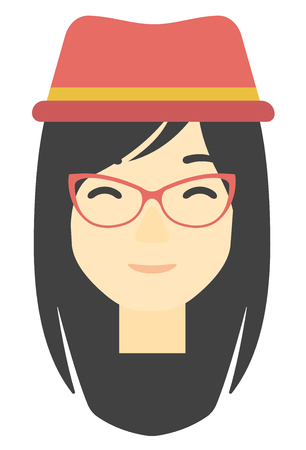 toothy smile: An asian smiling happy woman vector flat design illustration isolated on white background. Vertical layout.