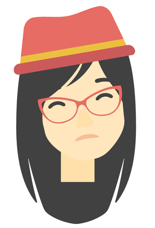 misery: An asian young depressed woman vector flat design illustration isolated on white background. Vertical layout.