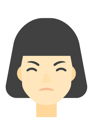 enraged: An asian detesting angry woman vector flat design illustration isolated on white background. Vertical layout. Illustration