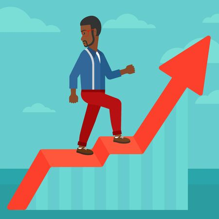 uprising: An african-american man standing on an uprising chart and looking down on the background of blue sky vector flat design illustration. Square layout. Illustration