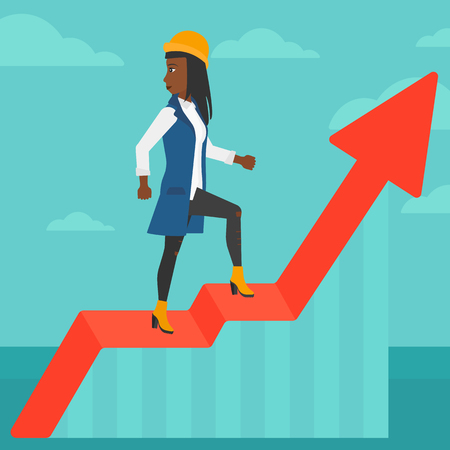 woman looking down: An african-american woman standing on an uprising chart and looking down on the background of blue sky vector flat design illustration. Square layout.