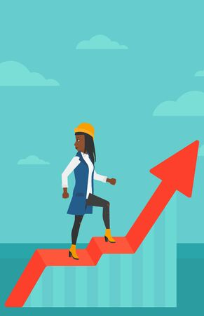 woman looking down: An african-american woman standing on an uprising chart and looking down on the background of blue sky vector flat design illustration. Vertical layout.
