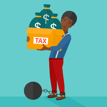 man carrying box: Chained to a large ball an african-american man carrying heavy box with bags full of taxes on a blue background vector flat design illustration. Square layout.