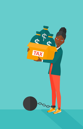 woman holding money: Chained to a large ball an african-american woman carrying heavy box with bags full of taxes on a blue background vector flat design illustration. Vertical layout.