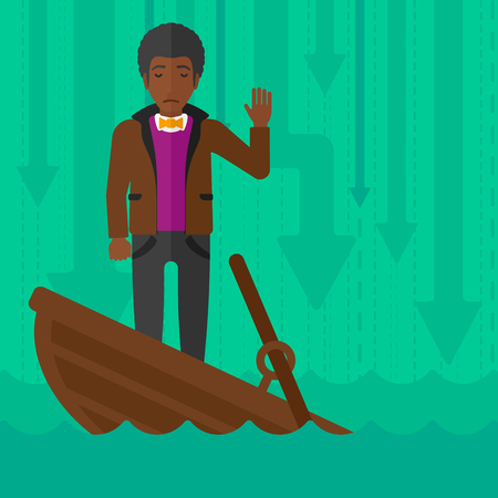 moving down: An african-american businessman standing in a sinking boat and asking for help on the background of arrows moving down vector flat design illustration. Square layout.