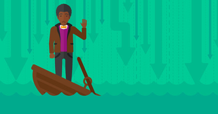 moving down: An african-american businessman standing in a sinking boat and asking for help on the background of arrows moving down vector flat design illustration. Horizontal layout.