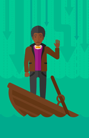 moving down: An african-american businessman standing in a sinking boat and asking for help on the background of arrows moving down vector flat design illustration. Vertical layout. Illustration