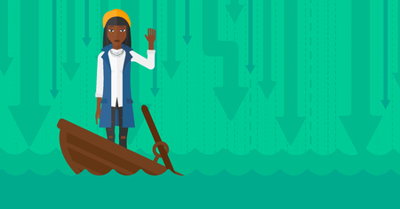 moving down: An african-american business woman standing in a sinking boat and asking for help on the background of arrows moving down vector flat design illustration. Horizontal layout. Illustration