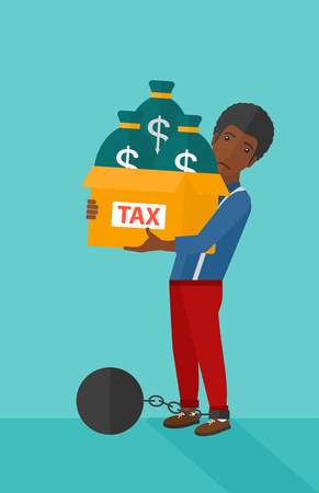 carrying box: Chained to a large ball an african-american man carrying heavy box with bags full of taxes on a blue background vector flat design illustration. Vertical layout.