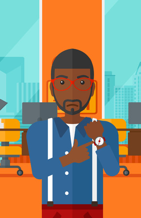 watch city: An african-american man pointing at wrist watch on the background of panoramic modern office with city view vector flat design illustration. Vertical layout. Illustration