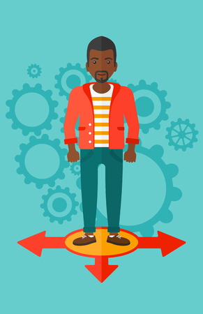 african business man: An african-american man standing on three alternative ways on a blue background with cogwheels vector flat design illustration. Vertical layout.