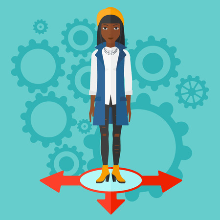 hesitate: An african-american woman standing on three alternative ways on a blue background with cogwheels vector flat design illustration. Square layout.