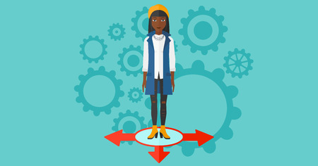 An african-american woman standing on three alternative ways on a blue background with cogwheels vector flat design illustration. Horizontal layout. Illustration