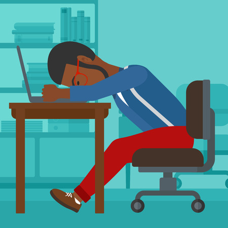 An african-american employee sleeping at workplace on laptop keyboard on the background of office vector flat design illustration. Square layout. Illustration