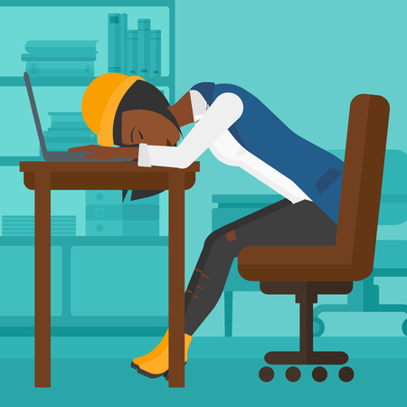 computer work: An african-american employee sleeping at workplace on laptop keyboard on the background of office vector flat design illustration. Square layout. Illustration