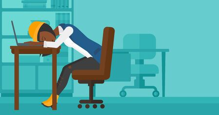 sleepy woman: An african-american employee sleeping at workplace on laptop keyboard on the background of office vector flat design illustration. Horizontal layout.