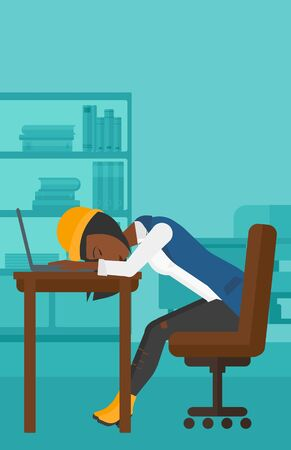 An african-american employee sleeping at workplace on laptop keyboard on the background of office vector flat design illustration. Vertical layout.