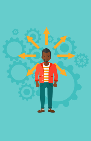 HESITATE: An african-american man with many arrows around him on a blue background with cogwheels vector flat design illustration. Vertical layout.