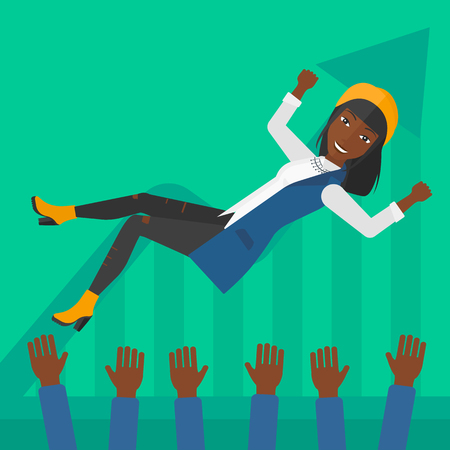 coworkers: An african-american business woman get thrown into the air by coworkers during celebration on a green background with increasing chart vector flat design illustration. Square layout. Illustration