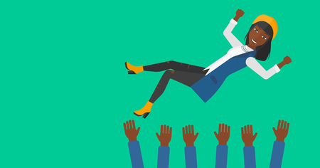 An african-american business woman get thrown into the air by coworkers during celebration on a green background vector flat design illustration. Horizontal layout. Ilustração