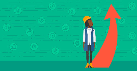 going green: An african-american business woman looking at a red arrow going up on a green background with business icons vector flat design illustration. Horizontal layout.