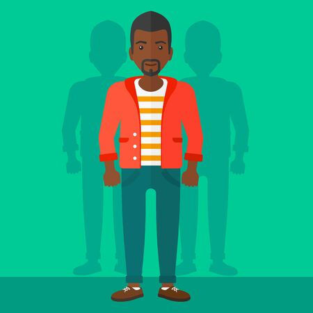 coworkers: An african-american man with some shadows of his coworkers behind him on a green background vector flat design illustration. Square layout.