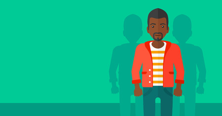 coworkers: An african-american man with some shadows of his coworkers behind him on a green background vector flat design illustration. Horizontal layout.